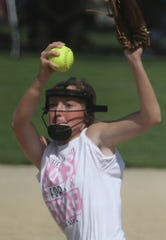 Carlisle sophomore Lexxi Link pitches against Lynnville-Sully. Carlisle beat Lynnville-Sully 9-2 in a Carlisle Classic Cancer Awareness Tournament game on June 29.