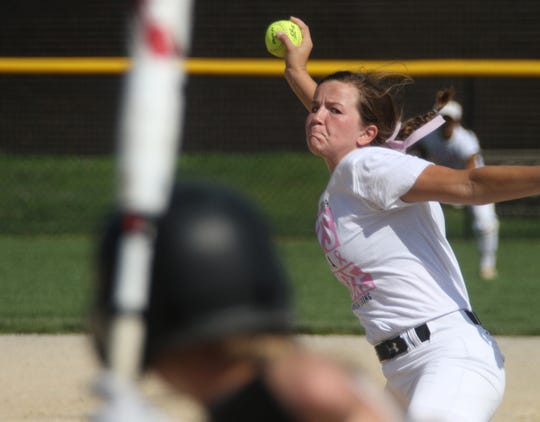 Carlisle junior Molly Hoekstra pitches against Lynnville-Sully. Carlisle beat Lynnville-Sully 9-2 in a Carlisle Classic Cancer Awareness Tournament game on June 29.