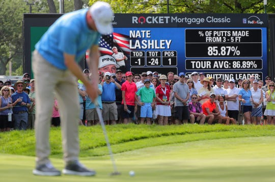 Spectators watch as Nate Lashley putts on the ninth green during the final round of the Rocket Mortgage Classic at the Detroit Golf Club in Detroit on Sunday, June 30, 2019.
