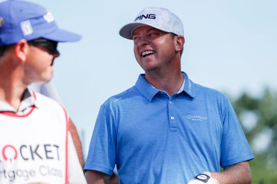 Nate Lashley smiles while playing the final round of the Rocket Mortgage Classic tournament at the Detroit Golf Club in Detroit on Sunday, June 30, 2019.