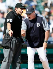 Detroit Tigers manager Ron Gardenhire argues with home plate umpire Mark Ripperger after being ejected Saturday.