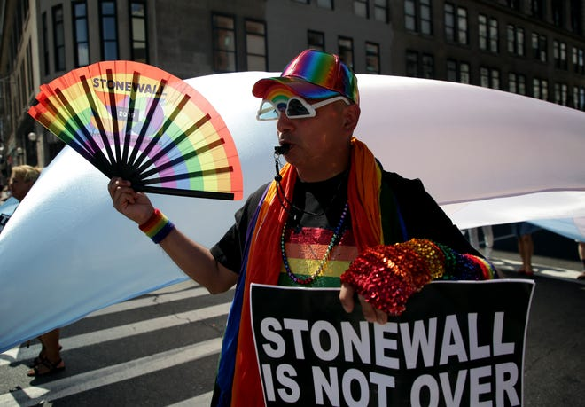 A participant marches in the Queer Liberation March in New York, Sunday.
