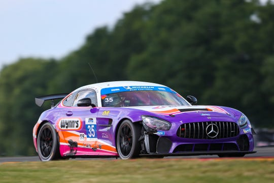 The No. 35 Riley Motorsports Mercedes-AMG GS of James Cox, Dylan Murry and Jeroen Bleekemolen on its way to a win in the Tioga Downs Casino Resort 240 at Watkins Glen International on June 29, 2019.