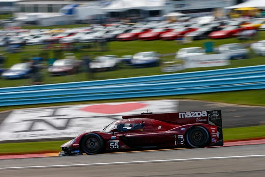 The No. 55 Mazda Team Joest Mazda DPi of  Jonathan Bomarito, Harry Tincknell and Olivier Pla on its way to a win in the Sahlen's Six Hours of The Glen on June 30, 2019 at Watkins Glen International.
