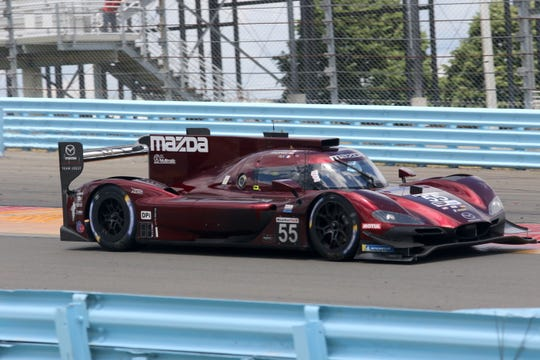The No. 55 Mazda Team Joest of Harry Tincknell, Olivier Pla and Jonathan Bomarito on its way to the overall win in the Sahlen's Six Hours of The Glen on Sunday at Watkins Glen International.