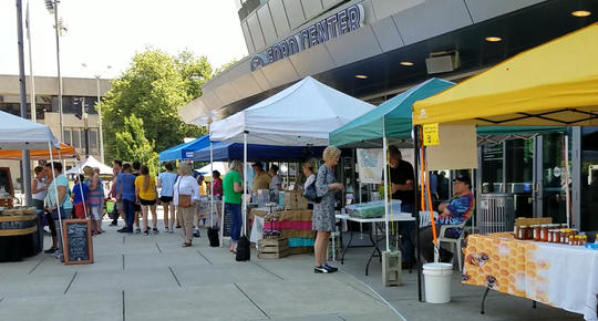 The Wednesday Market on Main is located in front of the Ford Center.
