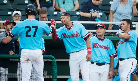 Fort Myers Miracle catcher Ryan Jeffers and teammates celebrate Jeffers' home run against the Charlotte Stone Crabs recently at Hammond Stadium in south Fort Myers.