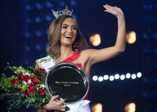 Miss Clemson Morgan Nichols waves after winning the Miss South Carolina competition at Township Auditorium in Columbia Saturday, June 29, 2019.