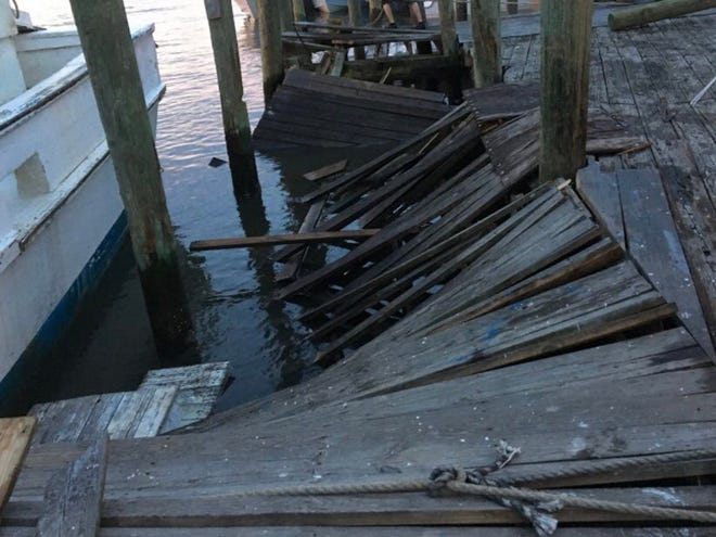 A dock collapsed at a Mount Pleasant, SC, restaurant Saturday night, sending 20 people into the water. Three were taken to a hospital with minor injuries, police said.