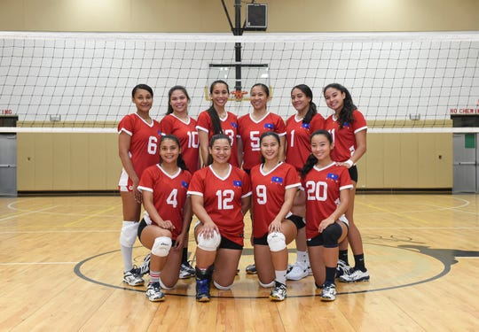 The Guam Women's National Volleyball Team at the Tiyan High School Gym on June 29, 2019. Back row from left: Tatiana Sablan, Mariana Kier, Lori Okada, Hilary Diaz, Joie Blas, Austia Mendiola. Kneeling from left: Samyra Duenas, Edelene Cruz, Jestyne Sablan, and Adriana Chang.