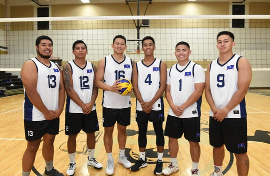 Members of the Guam Men's National Volleyball Team at the Tiyan High School Gym on June 29, 2019. From left: Vincent Leon Guerrero II, Leandro Reogilio, Eric Ada, Rico Castro, Rai Santos, and Aiden Ferrara.