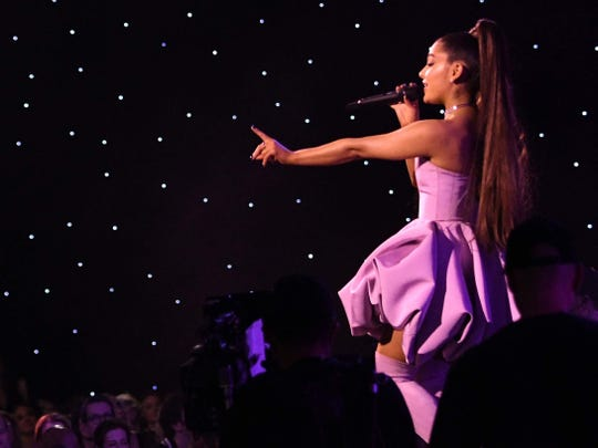 Ariana Grande is seen during a December 2018 performance in New York City.