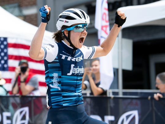 Ruth Winder of team TKS Trek-Sagafredo wins the USA Cycling's women's Pro Road National Championship on Sunday, June 30, 2019.