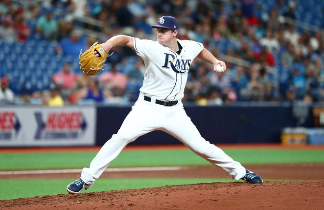 Tampa Bay Rays starting pitcher Brendan McKay (49) throws a pitch during the fourth inning against the Texas Rangers at Tropicana Field in St. Petersburg, Florida, on Saturday, June 29, 2019.