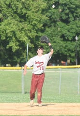 Lockeroom first baseman Jake Hutson hauls in a fly ball during a recent game at Cooper Park.
