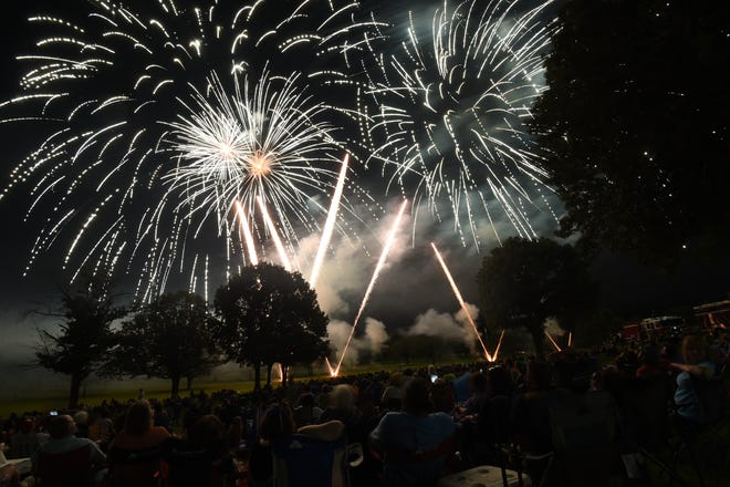 Fireworks erupt over the campus of Arkansas State University-Mountain Home at the conclusion of the 2019 Red, White and Blue Festival. This year's festival has been canceled due to the COVID-19 pandemic, organizers have announced.
