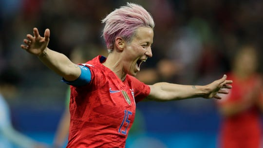 United States' Megan Rapinoe celebrates after scoring her side's ninth goal during the Women's World Cup Group F soccer match between United States and Thailand at the Stade Auguste-Delaune in Reims, France, Tuesday, June 11, 2019.