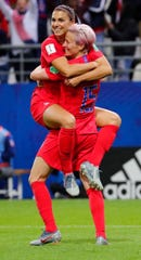 United States forward Alex Morgan (13) celebrates with forward Megan Rapinoe (15) after scoring her fifth goal against Thailand during the second half in group stage play during the FIFA Women's World Cup France 2019 at Stade Auguste-Delaune.