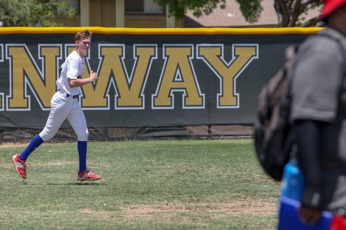 Ben Meyerson, of Scottsdale Christian Academy in Phoenix trainsat the Greenway High School baseball field in Phoenix, Ariz. on June 29, 2019. Invited high school baseball players, many local, trained with EXOS and MLB scouts on fundamental skills and development.