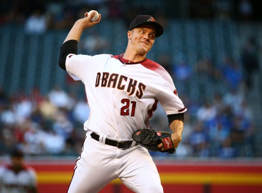Arizona Diamondbacks pitcher Zack Greinke throws to the Los Angeles Dodgers in the first inning on June 24, 2019 at Chase Field in Phoenix, Ariz.
