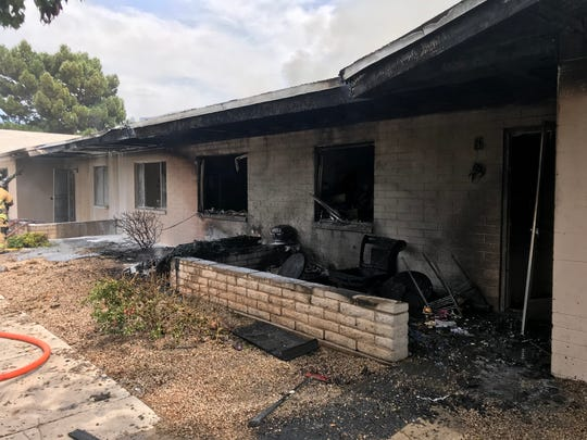 A second-alarm fire damaged eight apartment living units Saturday afternoon at a senior living center on 43rd Avenue, south of Thomas Road, in Phoenix.