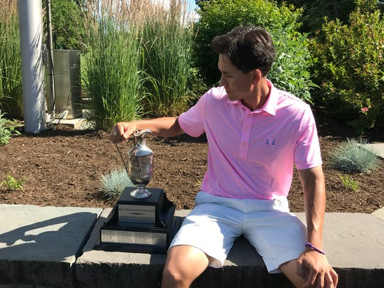 Dan Gabel poses with the Jim Bernard Players Trophy after winning the Dutchess County Amateur on Sunday, June 30.