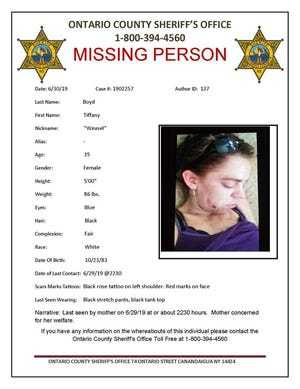 Ontario County Sheriff's notice for missing person Tiffany Boyd
