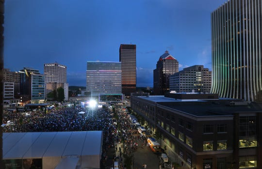 A huge crowd crams into Parcel 5 to see Trombone Shorty perform on the final night of the CGI Rochester International Jazz Festival.
