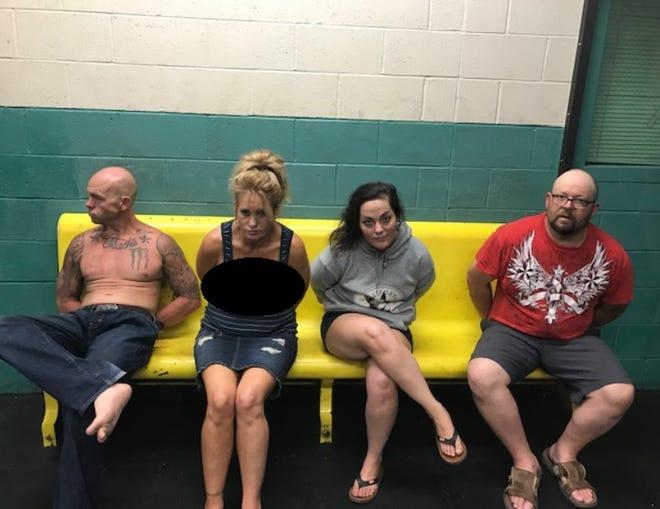 Matthew Miles, Jessica Wright, Rachell Landis and Bradley Jordan were booked into the Shasta County Jail on Saturday.