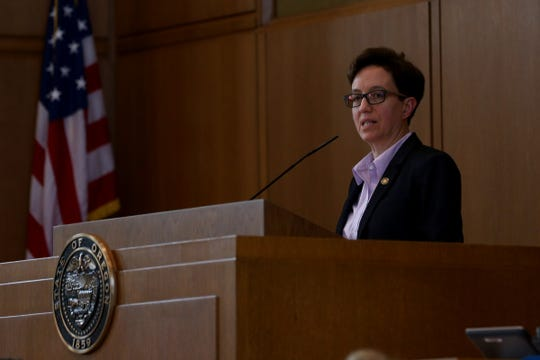 Speaker of the House Tina Kotek, D-Portland, speaks to state representatives on the last day of the 2019 legislative session at the Oregon State Capitol in Salem on June 30, 2019.