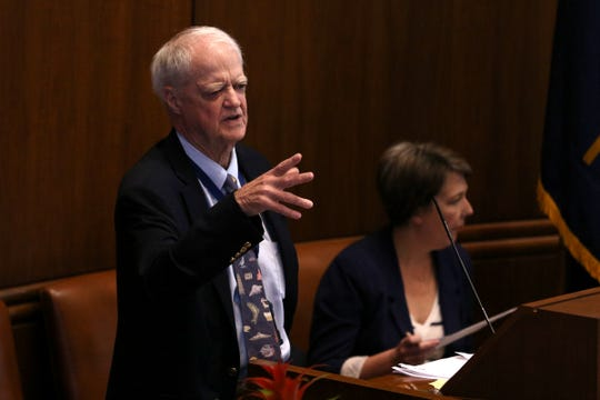 Senate President Peter Courtney speaks on the Senate floor on the last day of the 2019 legislative session at the Oregon State Capitol in Salem on June 30, 2019.