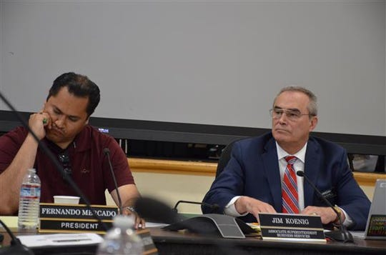 In this file photo sit, left to right, Fernando Mercado, president of the Alisal Union School District board of trustees, and Jim Koenig, then-associate superintendent of business services and interim superintendent of the Salinas elementary school district.