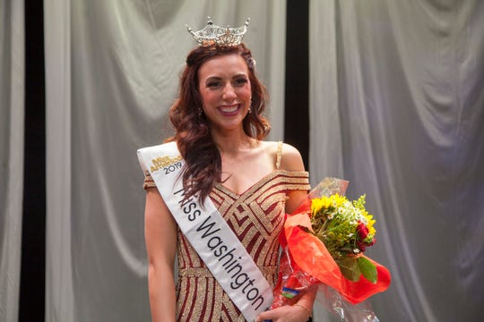 McKenna Hodge smiles after becoming the 2019 Miss Washington County. This year's competition has been cancelled due to coronavirus concerns and budgeting issues