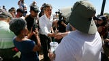 Presidential Candidate Beto O'Rourke visits the Clint Border patrol facility Sunday, June 30, to speak about the alleged mistreatment of the children.