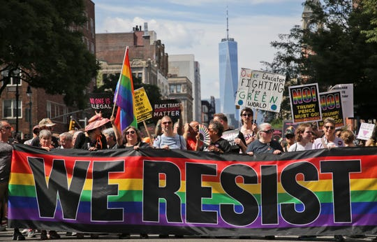 Marchers participate in the Queer Liberation March in New York, Sunday.
