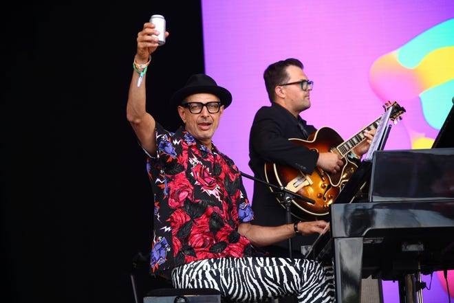 Actor and musician Jeff Goldblum performs with the Mildred Snitzer Orchestra on the final day of 2019 Glastonbury Festival at Worthy Farm, Somerset, England.