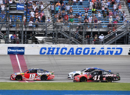 Kyle Busch (18) took the checkered flag at the 2018 NASCAR Cup race at Chicagoland Speedway.
