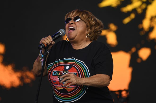 Mavis Staples performs on the Pyramid Stage on day five of the Glastonbury Festival in Pilton, England.