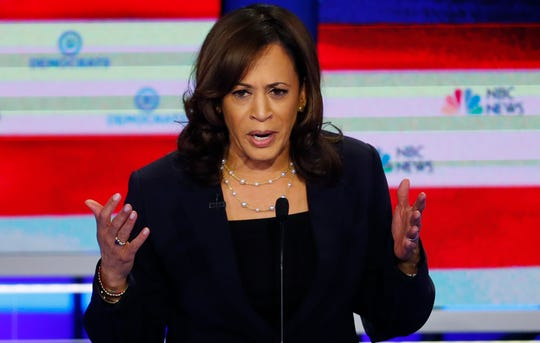 Democratic presidential candidate Sen. Kamala Harris, D-Calif., speaks during the Democratic primary debate hosted by NBC News at the Adrienne Arsht Center for the Performing Art, June 27, 2019, in Miami.