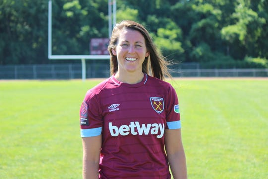 Erin Simon, who plays for West Ham and is the first Shore player ever to play in an English FA (Football Association) Women's Cup championship, at Red Bank Regional High School on Sunday, June 30, 2019