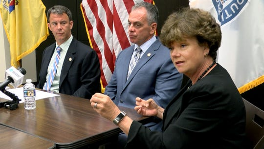 Monmouth County Prosecutor's Office Sexual Assault Nurse Examiner (SANE) Eileen Allen joins Prosecutor Christopher Gramiccioni (left) and Chief of Detectives John G. McCabe, Jr., during a Monday July 1, 2019, press conference discussing a new program to identify choking in domestic violence cases.  Signs of choking can forshadow domestic violence strangulation homicides.