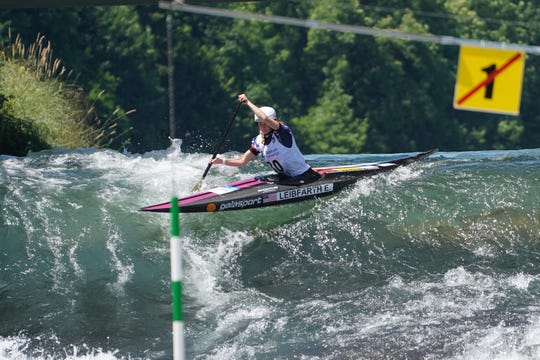 Evy Leibfarth of Bryson City competes June 30 in the ICF Slalom Canoe World Cup No. 4 in Tacen, Ljubljana in Slovenia. She earned a bronze medal in women's canoe and finished 9th in women's kayak.