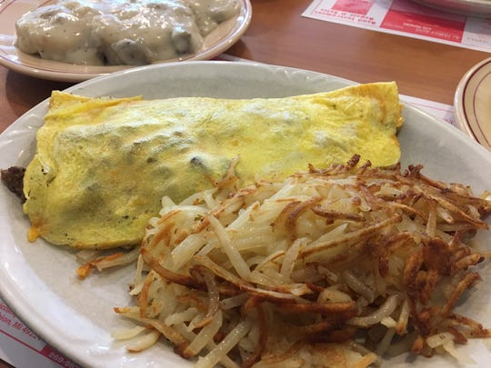 Lake's Sunrise Cafe features a varied menu of breakfast items including the Rancher's Omelet with shaved steak, onions, mushrooms and cheese.