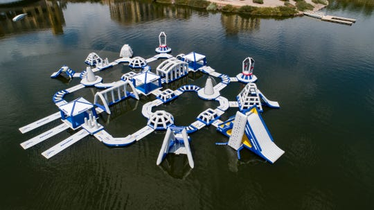 An aqua playground, like this one at Lake Las Vegas Aquapark, is expected to open in Coldwater Township in 2020.