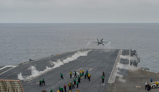 An F/A-18E Super Hornet assigned to the Kestrels of Strike Fighter Squadron (VFA) 137 takes off from the flight deck aboard the aircraft carrier USS Nimitz (CVN 68). Nimitz is currently underway conducting routine operations. (U.S. Navy photo by Mass Communication Specialist 3rd Class Olivia Banmally Nichols/Released)