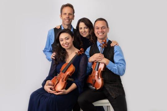 The Carpe Diem String Quartet (clockwise from top left): Gregory Sauer, cello, Korine Fujiwara, viola, Charles Wetherbee, violin, and Marisa Ishikawa, violin.