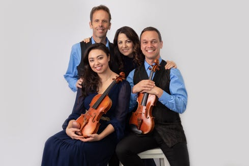 The Carpe Diem String Quartet (clockwise from top left): Gregory Sauer, cello, Korine Fujiwara, viola, Charles Wetherbee, violin, and Marisa Ishikawa, violin.