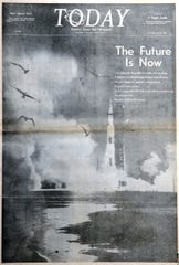 Shown is the front page of Today newspaper from July 17, 1969, the day after Apollo 11 astronauts Neil Armstrong, Buzz Aldrin and Michael Collins headed to the moon. On July 20, 1969, Armstrong and Aldrin set foot on the moon.