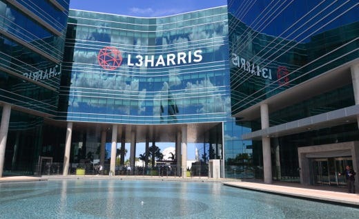 "The new logo on front of the L3Harris Technology Center. Harris Corp and L3 merged over the weekend into L3Harris. William M. ""Bill"" Brown, Chairman and CEO of L3Harris and Chris Kubasik, Vice Chairman, President and COO L3Harris, had a welcoming ceremony with employees at the L3Harris Technology Center in Palm Bay Monday afternoon."