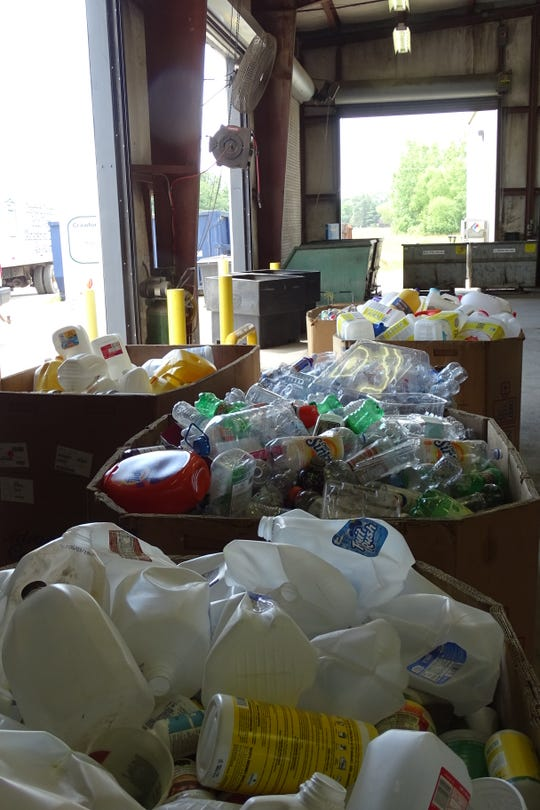 Sorted bins of recyclables sit at the Crawford County Recycling Center, 5128 Lincoln Highway East.